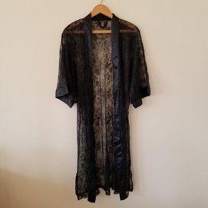 Victoria's Secret Black Lace Kimono Robe Size XS/S